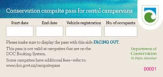 DOC Campsite Pass - Single